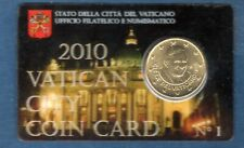 Vatican 2010 50 Centimes D'Euro Coin Card N°1 Pape Benoit XVI