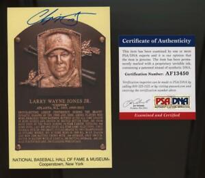 Chipper Jones National Baseball Hall of Fame Plaque Auto Autgraph PSA DNA cert