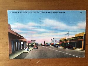 Vintage Miami, Florida Postcard 2nd Ave and Little River LINEN