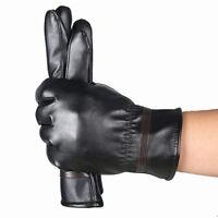 UK hiver hommes Gants Chaud Imperméable cachemire cuir de conduite Noir