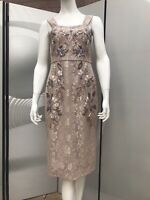 New Party Xmas Monsoon Beige Lace Dress,Hand Embroidery Beads,UK 10,RRP £265.
