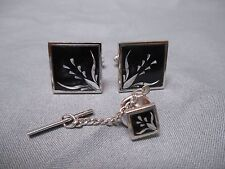 Cuff Links & Tie Tack Vintage Mid Century Modernist Steel Cut & Black Enamel