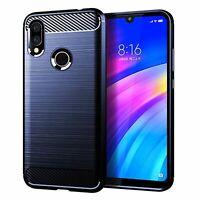 Xiaomi Redmi 7 Cover TPU Phone Case Carbon Fiber Brushed Protective Case Blau