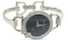NEW LADIES GUCCI 122 CHIODO BLK GUILLOCHE DIAL YA122502 1ct APPROX DIAMOND WATCH