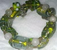 Memory Wire Bracelet With Green, Gold & White Color  Toned Glass Beads Handmade