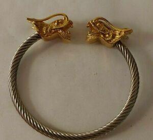 Vintage Gold Tone Dragon Head Silver Tone Open Cuff Bangle Bracelet