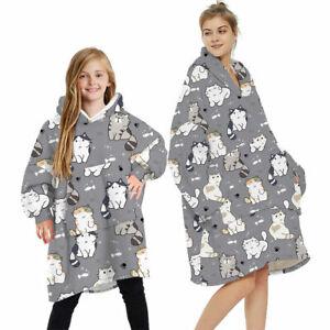 Pullover Adult Kid Winter Soft Oodie Comfy Nightware Fleece Blanket Hoodie Hoody