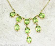 Collar de joyería con gemas de oro amarillo peridoto