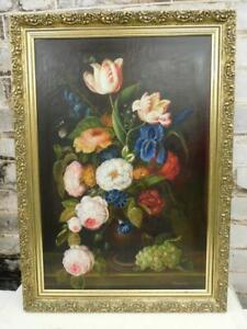 vintage old PAINTING oil STILL LIFE FLOWERS  signed