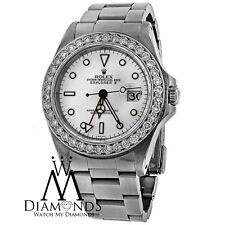 Original Diamond Rolex SS Stainless Steel Explorer II Date 40mm White Dial 16570
