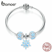 BAMOER White world S925 Sterling silver bangle with Blue CZ DIY charms for women