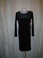 Long Sleeve Lined Dress XS JLO Black Silver Dots Zipper back NWT