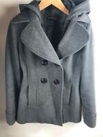 New York & Company Womens Peacoat Gray Heathered Buttons Hooded Pockets Lined 6