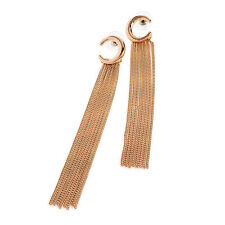 Rose Gold Coloured Tassel Drop Earrings Ladies Fashion Jewellery Studs