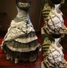 Vintage Black and White Gothic Wedding Dress Halloween Wedding Bridal Ball Gowns