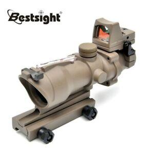 ACOG 4X32 Tan Mini Red Dot Sight Optic Sight Scope Red Illuminated w/ RMR