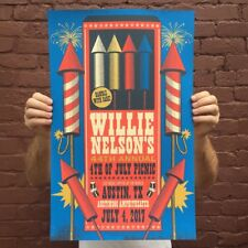 Willie Nelson 7/4/2017 44th Annual Picnic Poster Austin TX Signed & Numbered #30