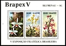 BRASIL BRAZIL 1982 BRAPEX V FLOWERS ORCHIDS S/S MNH YV BL 48 Mi 49