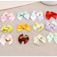 10-100pcs DIY Rose Satin Ribbon Rose Flower Bow Appliques Home Wedding Party