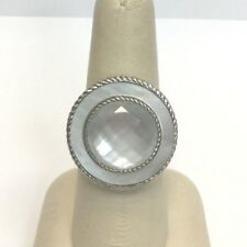 Judith Ripka Sterling White Mother Of Pearl Doublet Ring Size 7