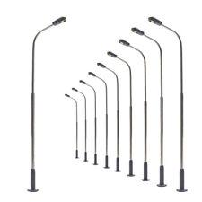 LQS07 10 Stk. Peitschenlampen LED 78mm TT / H0 Straßenlampen flexible Höhe NEU