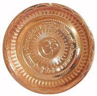 Om Aum Symbol Embossed Copper Plate Hindu Religious Gayatri Mantra Puja Thali