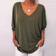 Women Summer Solid T Shirt V Neck Tunic Button Bat 3/4 Sleeve Casual Blouse