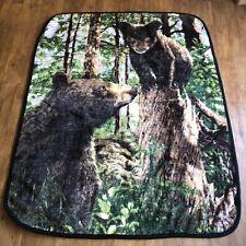 "Vintage Fleece Blanket Black Bear And cub Blanket 60""X 48"""