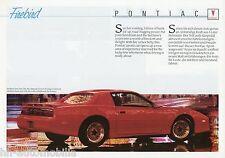 Prospetto d + GB Pontiac Firebird Trans Am GTA 1989 auto prospetto brochure brosjyre