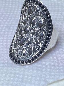 John Hardy Jai Size 7 Large Croco Saddle Black Spinel Ring