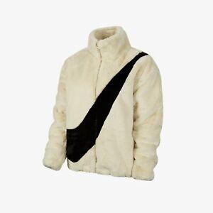 Nike NSW Faux Fur Jacket Oversize Swoosh Fossil White Black CU6558-238 size S