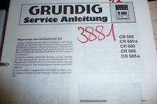 Service Manual Grundig Cr 550/580/585 Recorder, Original