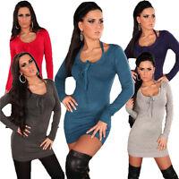 Sexy Damen Strickkleid Kleid Pullover Pulli Sweater Neckträger warm S 34 36 38