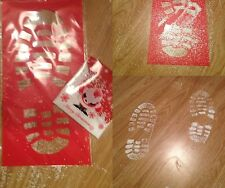 Father Christmas Footprints Santa Footprints Stencil With white glitter snow