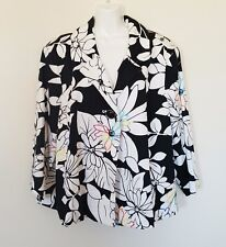 Trenz By Theresa Renz Womens Jacket Sz 2X Floral Black White Embroidered Lined