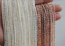 Top Real pearl Small Rice Bead 1.8mm Natural pearl 38cm Strand White Loose Beads