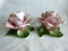 Rose Figural Italian Porcelain Candleholders Vintage Capodimonte