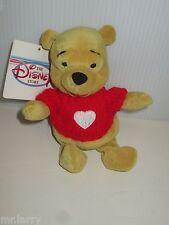 "Disney Store Winnie The Pooh Valentine'S Day Heart Sweater Bean Bag Plush 8"""