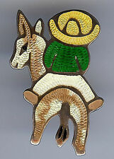 JERONIMO FUENTES VINTAGE MEXICO STERLING ENAMEL DONKEY & MAN WITH SOMBRERO PIN
