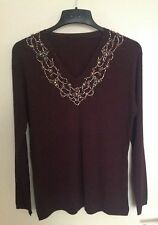 Impact Design Collection. Brown Jumper Top with Multicolour beaded neck. Size XL