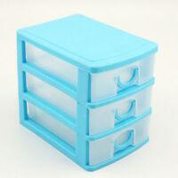 Bedroom Three Layers Translucent Plastic Storage Box Draw Desk Container Decor