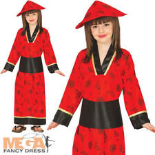 Chinese Oriental Girls Fancy Dress Red Geisha Kimono Kids National China Costume