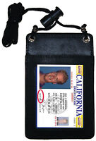 Genuine Leather ID Card Badge Neck Strap Pouch Travel Card Tag Holder Badge