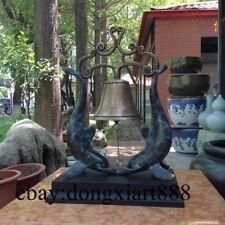 36CM Western Deco Bronze Double Delphinus Delphis Bell-cot Ornament Sculpture