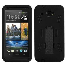 for HTC Desire 601 SPRINT PHONE BLACK SILICONE PLASTIC STAND SKIN OVER CASE
