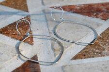 Sterling Silver Leaf Shape Hand Hammered Hoops