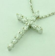 14k Solid White Gold Natural Diamond Cross Pendant 0.90 ct shared prong