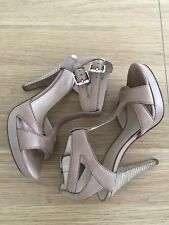 As New Country Road Leather Jodi Platform Camel Heels - Size 40 - RRP$229.00
