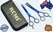 Professional Hair Dressing Salon Barber Scissors Set + Bag Titanium Blue Coated
