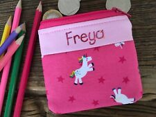 Handmade personalised kids childrens unicorn purse / wallet for boy or girl